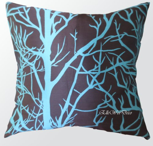 Elleweideco Modern Brown and Cyan Blue Tree Branch Throw Pil
