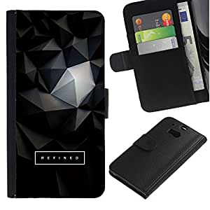 EuroTech - HTC One M8 - Black 3D Polygon Text Art Dark - Cuero PU Delgado caso Billetera cubierta Shell Armor Funda Case Cover Wallet Credit Card