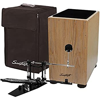 Sawtooth Ash Wood Cajon with Maple Back & Sides - Includes: Cajon, Padded Carry Bag, Direct Drive Cajon Pedal & Seat Pad