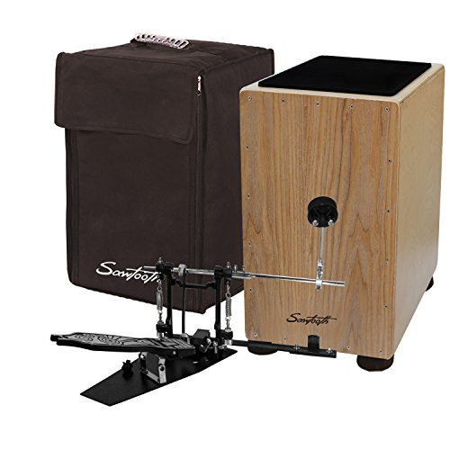 Sawtooth ST-CJ121SL-KIT-2 Ash Wood Cajon with Maple Back and Sides with Padded Carry Bag, Pedal and Seat Pad