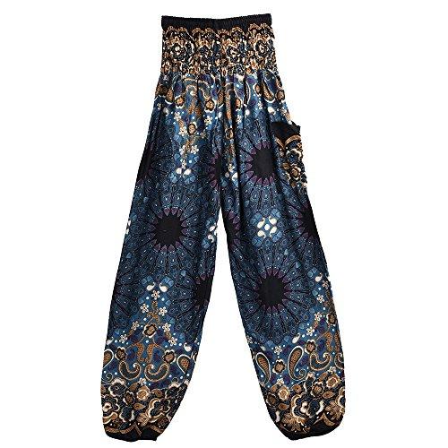 CHIDY Men And Women Mandala Print Loose High Waist Lantern Yoga Pants Harem Pants Street Dance Pants