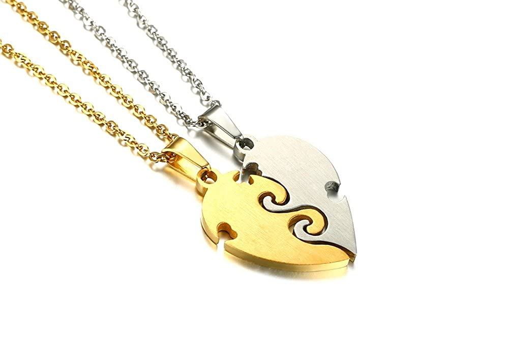 Mealguet Jewelry Two Pieces Puzzle Heart Stainless Steel Best Friend Forever BFF Pendant Friendship Necklace Set for 2