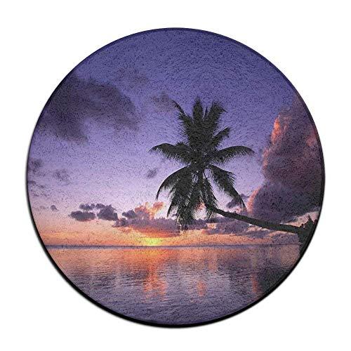 (TOGEFRIEND Beach Sunset Tropical Island Palm Tree Round Seat Cushion Non-Slip Machine Washable Round Chair Cushion Pad Stool Slipcover Mat Rug 23.6Inch)