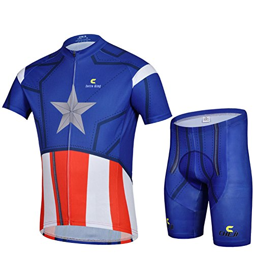 Zorro Mall 2015 American Flag Cycling Bicycle Bike Absorbent Outdoor Suits (Jersey + Pants) L Blue