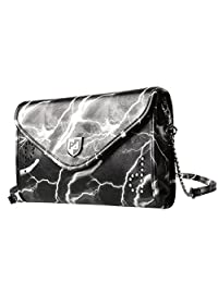 Prasacco Ladies Cross Body Bag Envelop Bag for Women PU Leather (Gray Handbag-36.7X30.5X7cm)