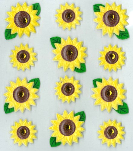 Jolee's Boutique Cabochons Dimensional Stickers, - Sunflowers Dimensional Stickers