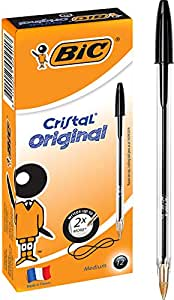 BIC Cristal Original Ball Pens Medium Point (1.0 mm) - Black, Box of 12