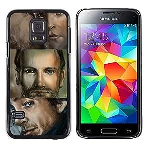 KOKO CASE / Samsung Galaxy S5 Mini, SM-G800, NOT S5 REGULAR! / Hombre retrato ojos azules dibujo guapo / Delgado Negro Plástico caso cubierta Shell Armor Funda Case Cover