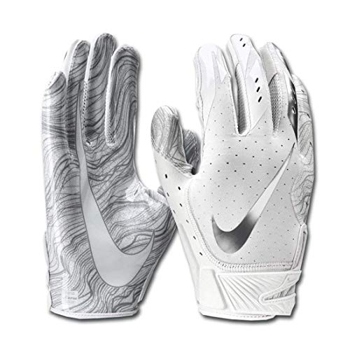 Men's Nike Vapor Jet 5.0 Football Gloves White/Chrome Size Large