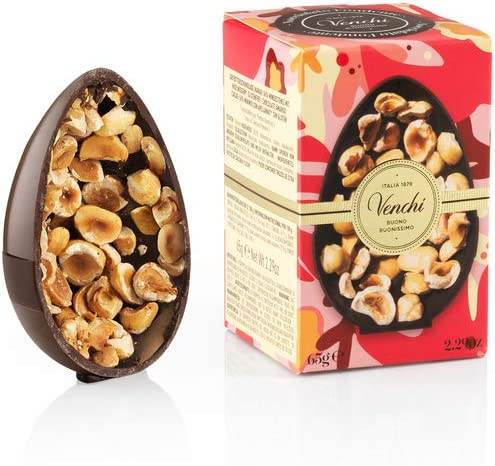 Venchi uovo di Pasqua cioccolato fondente nocciolato 65g - con nocciole piemonte igp intere - senza glutine