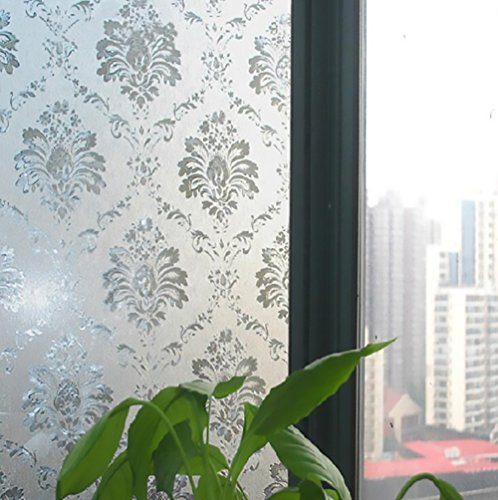 3D Self-adhesive No Glue Static Privacy Sticking Film for Windows Glass Decorative Frosted Window Films-Protect Your Investment (23.6in*78.7in, Flower 1)