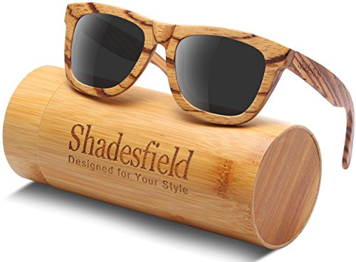 Polarized Wood Sunglasses Wayfarer Style -UV Protection, Handmade Zebra Wooden Frame (grey)