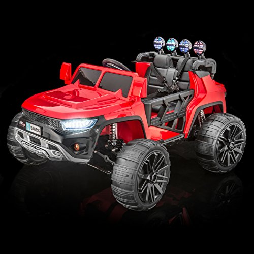 SUPERTrax WideTrack Kids Ride On Electric Car, Remote Control, Free MP3 Player - Red ()