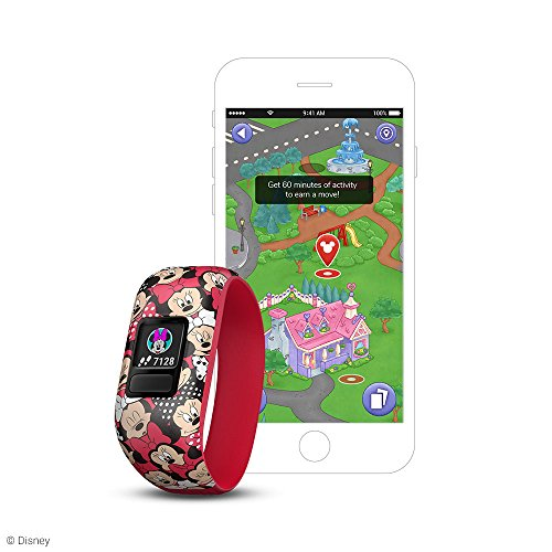 (Garmin 010-01909-20 vívofit jr 2, Kids Fitness/Activity Tracker, 1-year Battery Life, Minnie Mouse (Red))