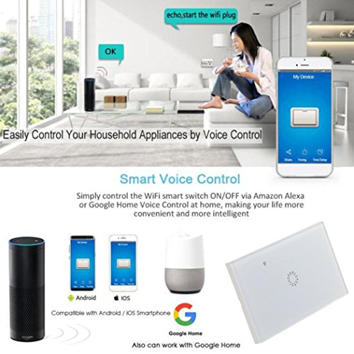 Switch Capacitive Hand Switch Wireless Remote Control Glass 1-gang Smart Home AU/US Crystal Waterproof Glass Touch Screen Light Switch&Mini Remote Wifi phone control (White) by Liu Nian (Image #6)