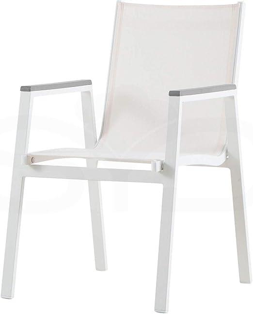 Silla Inca de Aluminio 1ª Calidad y Textileno Blanco: Amazon.es: Jardín