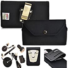 Rugged Heavy Duty Ballistic Nylon Horizontal Duty Belt Case with Snap Closure and 6pc USB Charging Kit fits Samsung Galaxy Note 5 with an Otterbox Case on it.