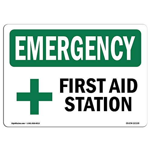 OSHA Emergency Sign - First Aid Station | Aluminum Sign | Protect Your Business, Construction Site, Warehouse & Shop Area |  Made in The ()