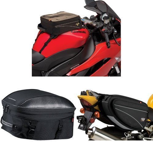 Nelson-Rigg CL-904 Black Standard Tank/Tail Bag,  CL-1060-ST Black Sport Touring Tail/Seat Pack,  and  CL-950 Black Deluxe Sport Touring Saddle Bag Bundle by Nelson-Rigg (Image #1)