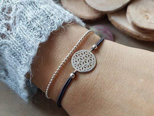 iz-el Stretch-Armband Lebensblume mit Kugelkette