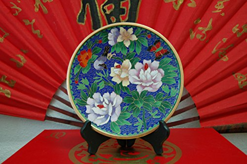 Feng Shui Master Only 1 Left, Exquisite Cloisonne Plates, 8 inches in Diameter, a Wood Display Stand (Blue Background Flowers Birds) ()