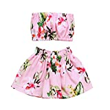 OUTGLE Baby Girl Toddler Crop Top + Floral Skirt Clothing Set Summer Beach Outfits
