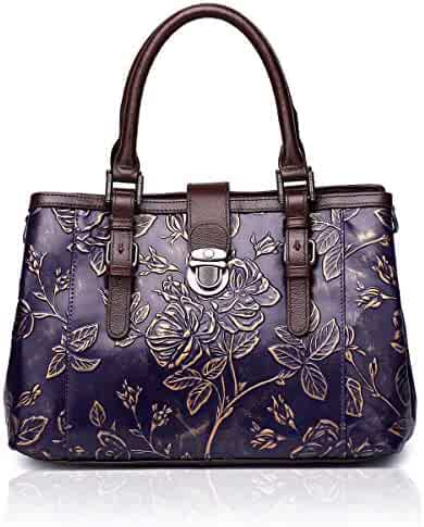 6b974b471b05 APHISON Designer Unique Embossed Floral Cowhide Leather Tote Style Ladies Top  Handle Bags Handbags C817