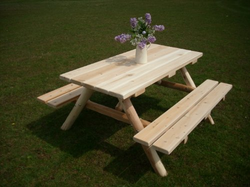 White Cedar Log Picnic Table with Attached Bench - 5 Foot