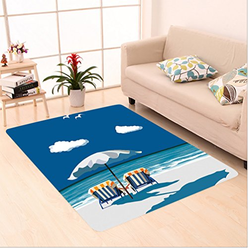 Nalahome Custom carpet al Couple on Deck Chairs Beach Holding Hands Umbrella Romance Sea Vacation Blue White Light Blue area rugs for Living Dining Room Bedroom Hallway Office Carpet (6' X 9')