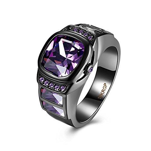 Purple crystal Black Round Agate Gem Finger Ring Watch Women rings