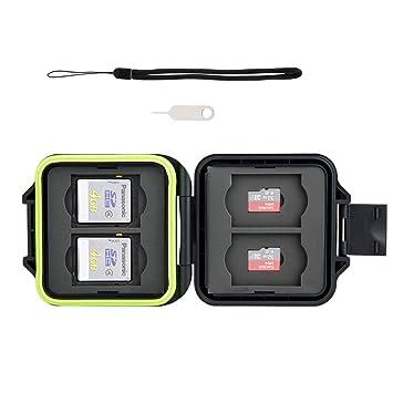 Kiwifotos – 8 ranuras resistente y rígido funda para tarjeta de memoria con tarjeta SIM herramienta para quitar y String (para 4 x SD, 4 x Micro SD ...
