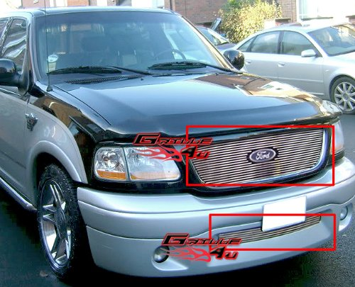 APS Compatible with 01-03 Ford F-150 Harley Davidson Billet Grille Combo F67656A ()