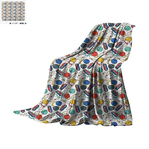 Luoiaax Bowling Custom Design Cozy Flannel Blanket Color Doodle Design on Notebook Sheet Backdrop Ball Pins and Shoes in Retro Style Digital Printing Blanket 60