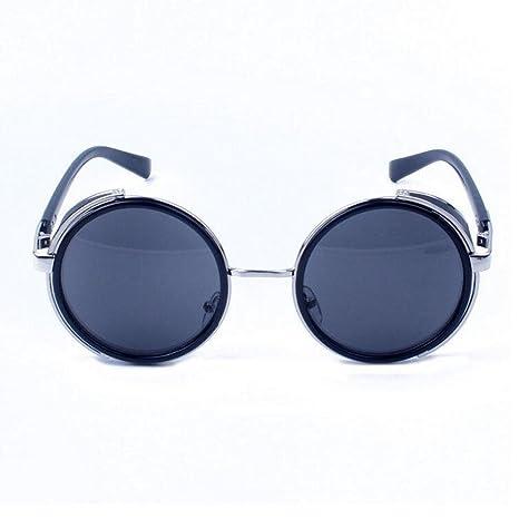 Z&YQ Occhiali da sole di colore di modo del metallo rotondo degli occhiali da sole , nickel white, bright black, full gray