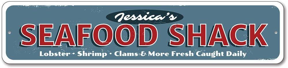 """Seafood Shack Sign, Lobster Shrimp Clams Fresh Caught Daily Restaurant Sign, Beach House Aluminum Decor - 6"""" x 24"""""""