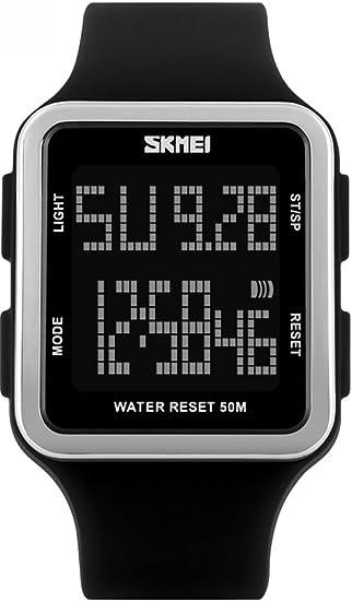 Rectangular para hombre multifunción Digital alarma calendario cronómetro el impermeable de los deportes relojes negro: Amazon.es: Relojes