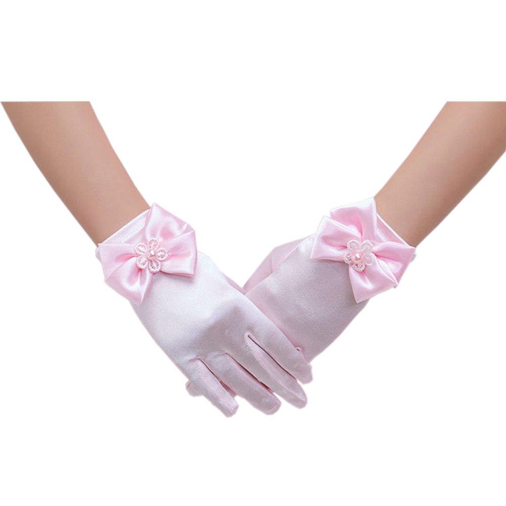 Short Flower Girls Gloves for Wedding Satin Gloves for Girls Princess Gloves CB-SFGL-I