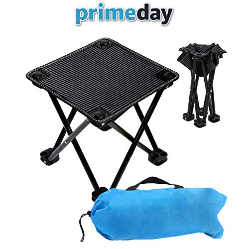VeMee Compact Camp Stool, Mini Folding Stool, Folding Camping Stool, Folding Ultralight Portable Mini Outdoor Chair for Camping Fishing Hiking Picnic Gardening Beach Backpacking with Carry Bag ()