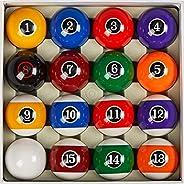 "Collapsar Deluxe 2-1/4"" Billiard Pool Balls Marble-Swirl Style Billiards Ball Complete 16 Ball Set (Sever"