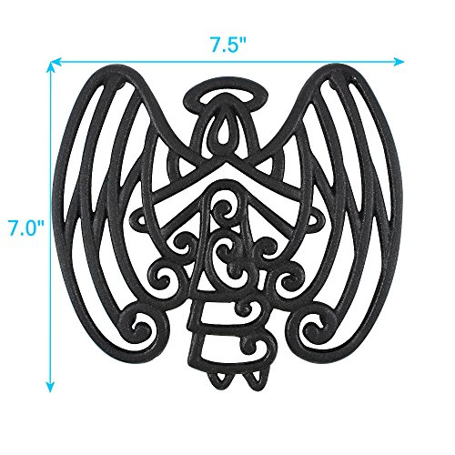 Caras-Casa-Angel-Trivet-Cast-Iron-for-Kitchen-and-Dining-Table-Wall-Art-or-Decoration-Accessory-Housewarming-and-Holiday-Gifts-Black