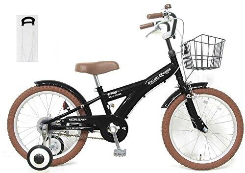 【手押し棒セット】子供用自転車 18インチ ROLLING RINGS BMXタイプ 子ども用自転車 キッズ 幼児車 ローリ 男の子 女の子 B01NGTH09C ブラック ブラック