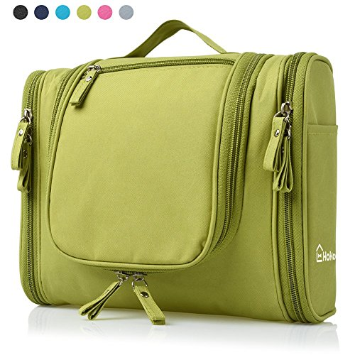Heavy Duty Waterproof Hanging Toiletry Bag - Travel Cosmetic Makeup Bag for Women & Shaving Kit Organizer Bag for Men - Large Size: 10.2 x 4.5 x 8.5 Inch (Green)