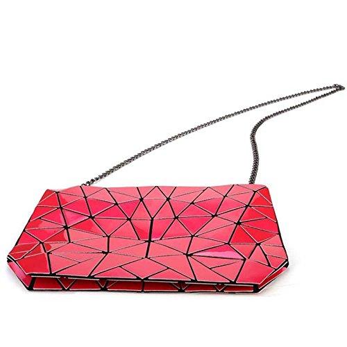 Diagonale Rosa Borsa HAOXIAOZI Borsetta In Geometrica Rombica Vernice Tracolla Pieghevole Elegante Pu 6x7wWa7