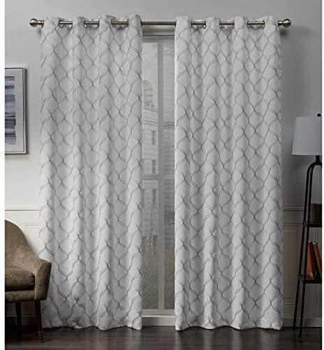 Exclusive Home Curtains Amelia Embroidered Woven Blackout Grommet Top Curtain Panel Pair