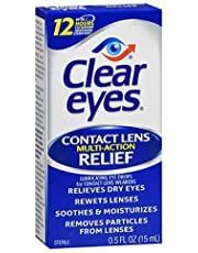Clear Eyes Eye Drops, Contact Lens Multi-Action Relief 0.5 oz (Pack of 3)