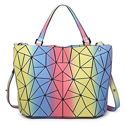 Kaoling Laser Pieghevole Rainbow Borsone Women's imbottito Bag Geometry Lattic Big Plain Handbag Totes Luminoso rrzf4
