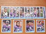 Minnesota Vikings 1988 Topps Football Team Set (Chris Doleman Rookie) (Wade Wilson Rookie) (DJ Dozier Rookie) (Tommy Kramer) (Anthony Carter) (Darrin Nelson) (Gary Zimmerman) (Joey Browner) (Scott Studwell)