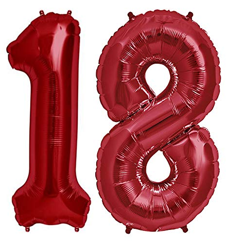 Tellpet Red Number 18 Balloon, 40 Inch