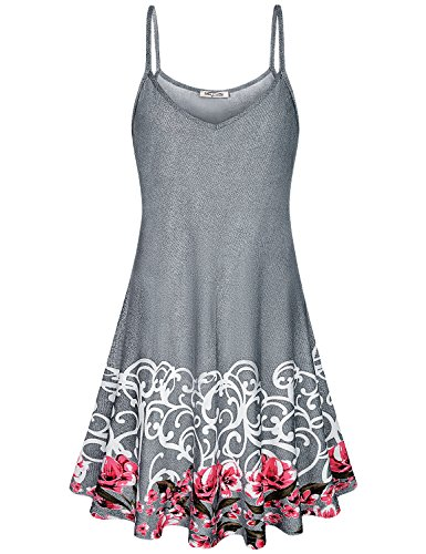 (SeSe Code Casual Sundress, Ladies Slip Dress Sleevless Scoop Neck Flattering Flower Print Scallop Hem Elegant Fluid Pleats Comfy Stretchy Going Out Weekend Shopping Beach Dresses Grey Large)