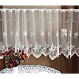 ZHH Crochet Lace Peony flower pattern Cafe Curtain Sheer Window Valance White ( W59 by H19-Inch )